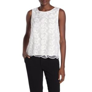 H&M Floral Sheer Lace Sleeveless White Blouse XS